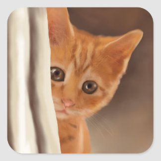 Fluffy Ginger Kitten Square Sticker