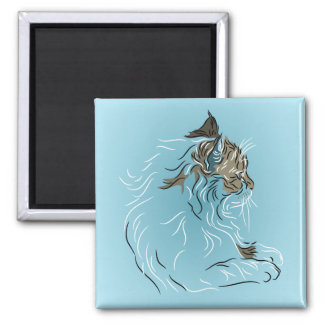 Fluffy Gray Cat on Blue Background 2 Inch Square Magnet
