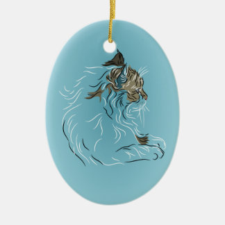 Fluffy Gray Cat on Blue Background Ceramic Ornament