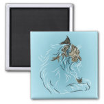 Fluffy Gray Cat on Blue Background Magnet