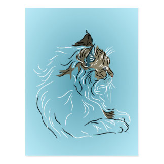 Fluffy Gray Cat on Blue Background Postcard