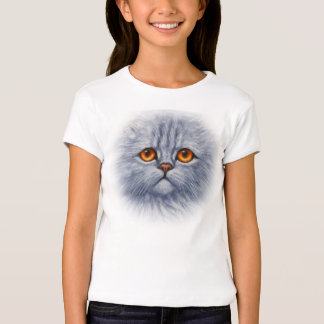 Fluffy Gray Tabby Cat Kitten Face T-Shirt