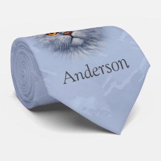 Fluffy Gray Tabby Cat Kitten Face Tie