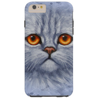 Fluffy Gray Tabby Cat Kitten Face Tough iPhone 6 Plus Case