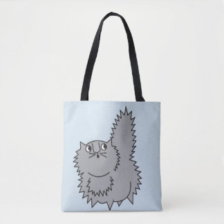 Fluffy Grey Kitty Tote Funny Cat