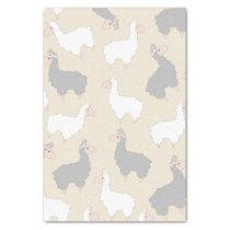 Fluffy Grey & White Llamas Tissue Paper