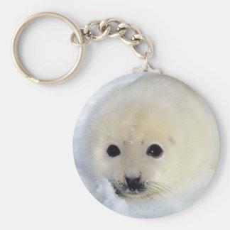 Fluffy Harp Seal Pup Basic Round Button Keychain