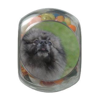 Fluffy Keeshond Glass Candy Jars