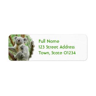 Fluffy Koala  Mailing Labels