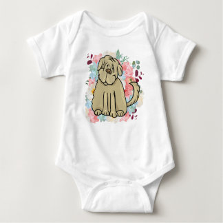Fluffy Large Dog with Flowers Baby Bodysuit