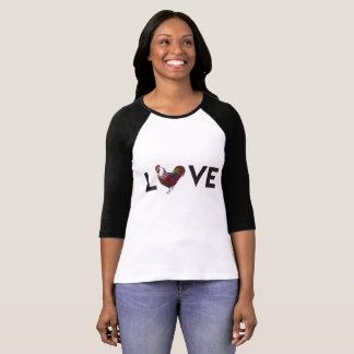 """Fluffy Layers """"LOVE"""" Rooster Baseball Tee"""
