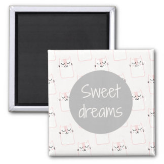 Fluffy Marshmallow Kitty in Pink   Sweet Dreams Magnet