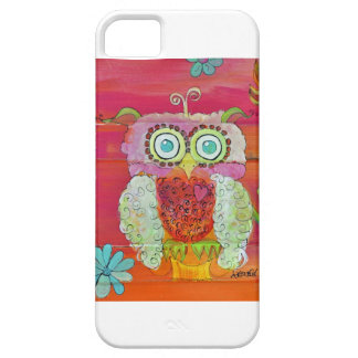 Fluffy Owl in Pinks and Oranges iPhone SE/5/5s Case