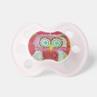 Fluffy Owl in Pinks and Oranges Pacifier