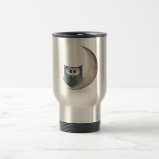 Fluffy Owl on the Moon 15 Oz Stainless Steel Travel Mug