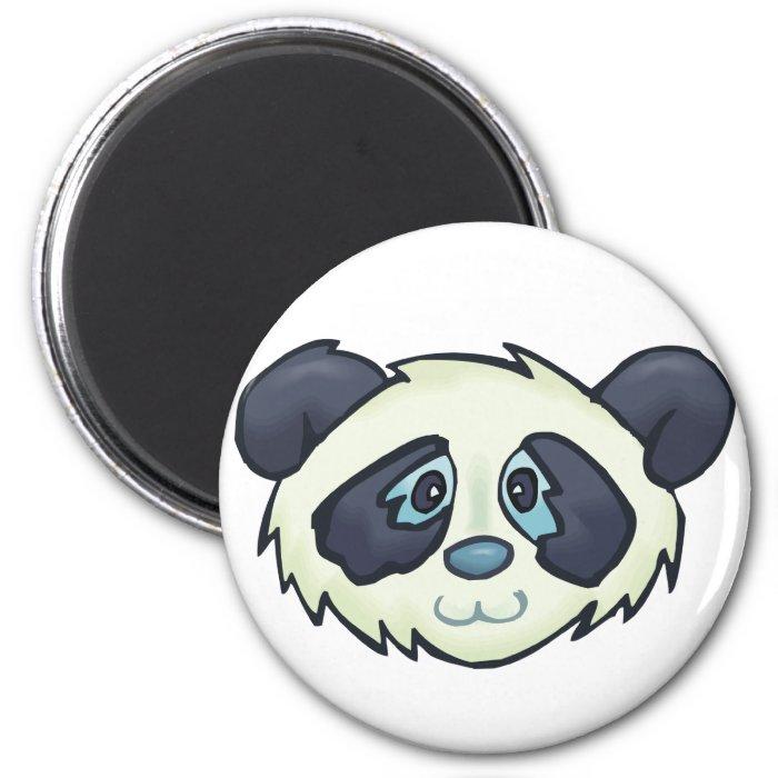 Fluffy Panda 2 Inch Round Magnet