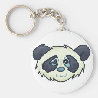 Fluffy Panda Basic Round Button Keychain