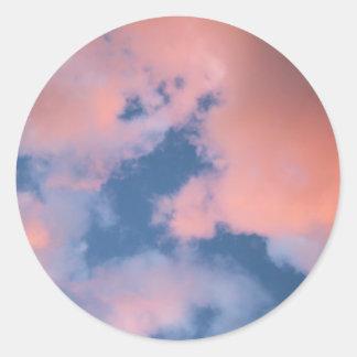 Fluffy Peach Clouds at Sunset Round Sticker