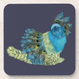 Fluffy Peacock Costumed Kitty Coaster