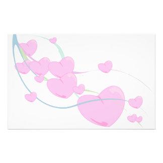 Fluffy Pink Hearts Folding Wrap Stationery
