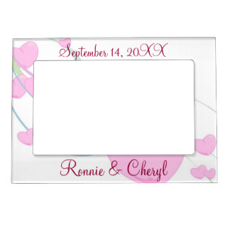 Fluffy Pink Hearts Magnetic Photo Frame