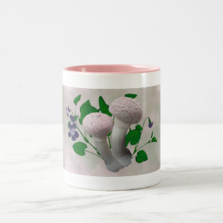 Fluffy Pink Mushrooms and Violets Drinkware Coffee Mugs