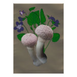 Fluffy Pink Mushrooms and Violets  Poster