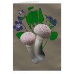 Fluffy Pink Mushrooms Violets Card