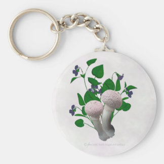 Fluffy Pink Mushrooms Violets Keychain