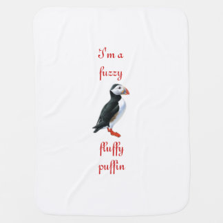 Fluffy Puffin Receiving Blanket