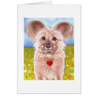 Fluffy puppy greeting card. card