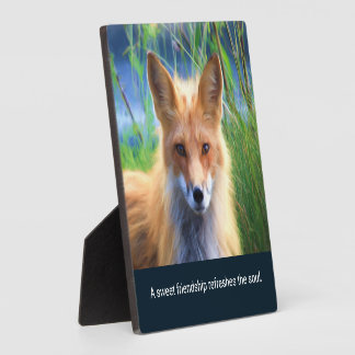 Fluffy Red Fox with Friendship Quote Plaque