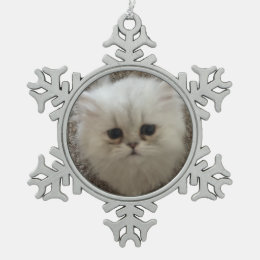 Fluffy Sasquach looking kitty with cute expression Snowflake Pewter Christmas Ornament
