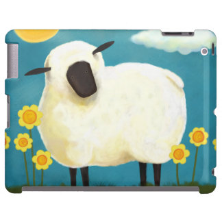 Fluffy Sheep and Yellow Flowers