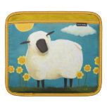 Fluffy Sheep and Yellow Flowers Art Sleeves For iPads