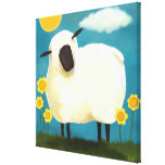 Fluffy Sheep and Yellow Flowers Art Print Gallery Wrapped Canvas