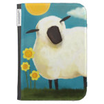 Fluffy Sheep and Yellow Flowers Kindle Cases