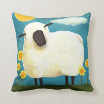 Fluffy Sheep and Yellow Flowers Throw Pillow