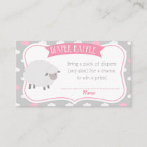 Fluffy Sheep Diaper Raffle Insert (Gray & Pink)