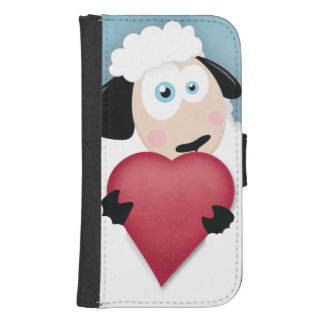 Fluffy Sheep Holding Big Red Heart Samsung S4 Wallet Case