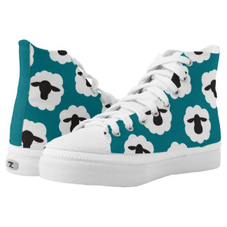 Fluffy Sheep Print {Any Color} High-Top Sneakers