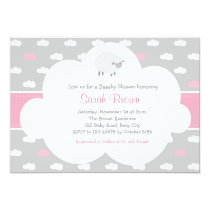 Fluffy Sheep with Cloud Invitation (Gray Pink)