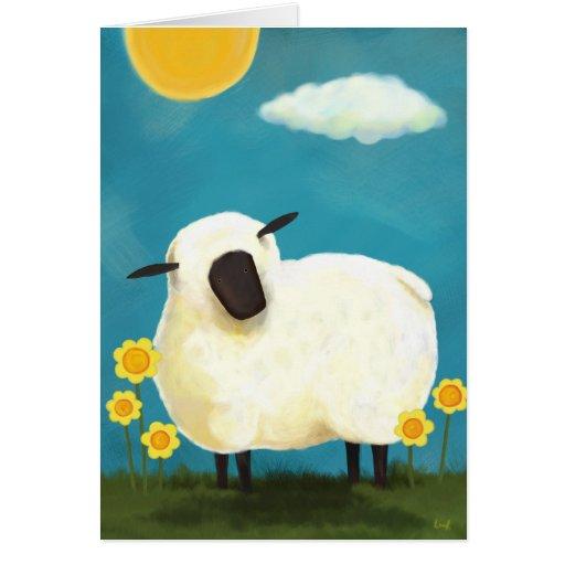 Fluffy Sheep & Yellow Flowers Art Card