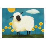 Fluffy Sheep & Yellow Flowers Art Greeting Card