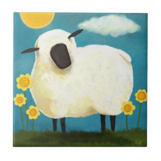 Fluffy Sheep & Yellow Flowers Art Tile