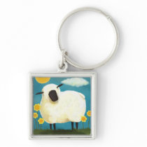 Fluffy Sheep & Yellow Flowers Keychain