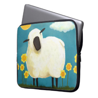 Fluffy Sheep & Yellow Flowers Laptop Sleeve
