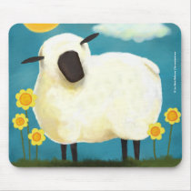 Fluffy Sheep & Yellow Flowers Mousepad