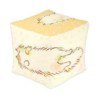 "Fluffy Sleepy Cat (13"") Cube Pouf"