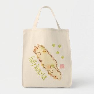Fluffy Sleepy Cat Grocery Tote Bag